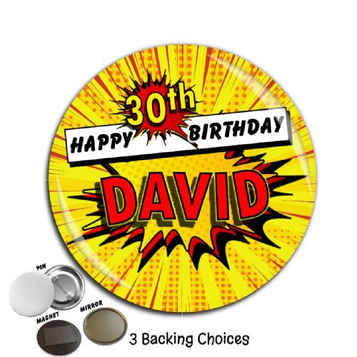 Large 75mm Comic Blast Personalised Happy Birthday Badge N13